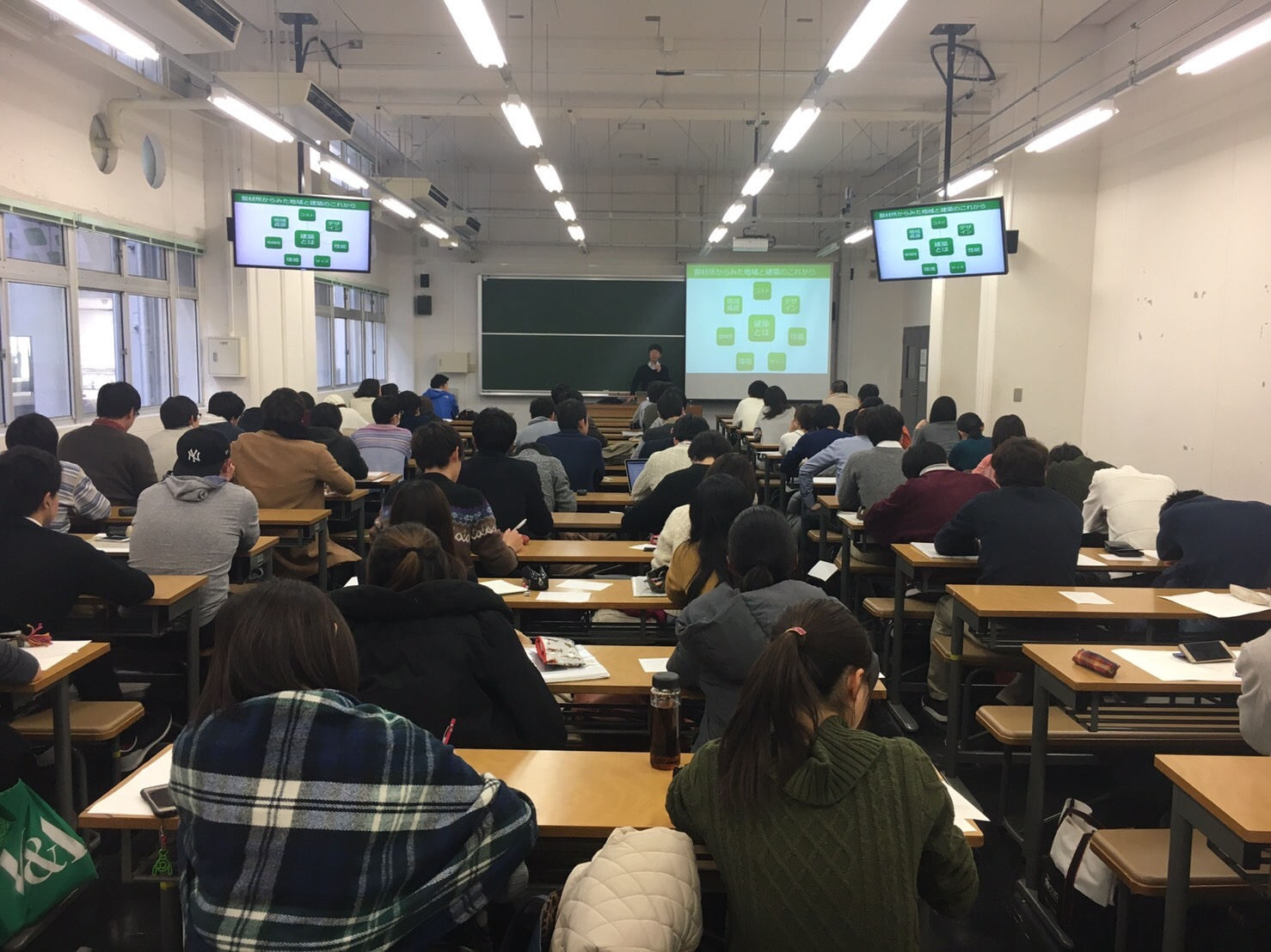 早稲田大学建築学科 「広域環境論」での特別講義の様子(2017.1.13)