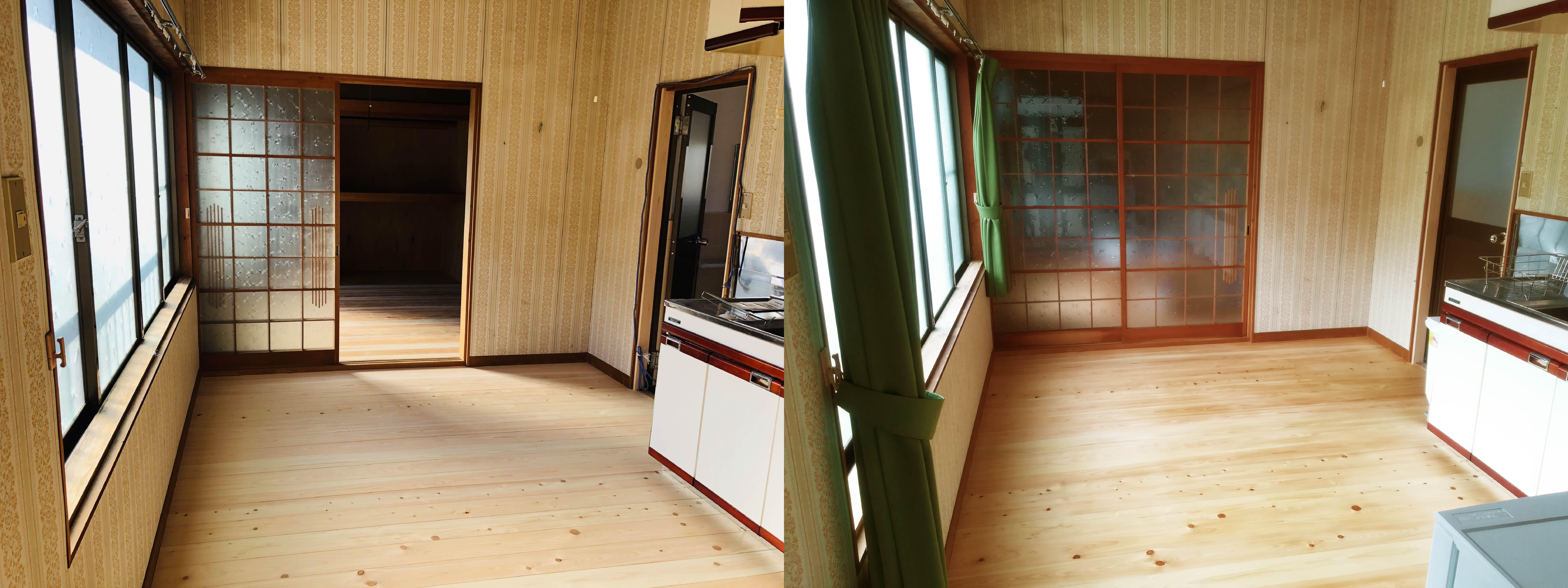 ヒノキのフローリング / 左:ワックスを塗る前 右:ワックスを塗った後
