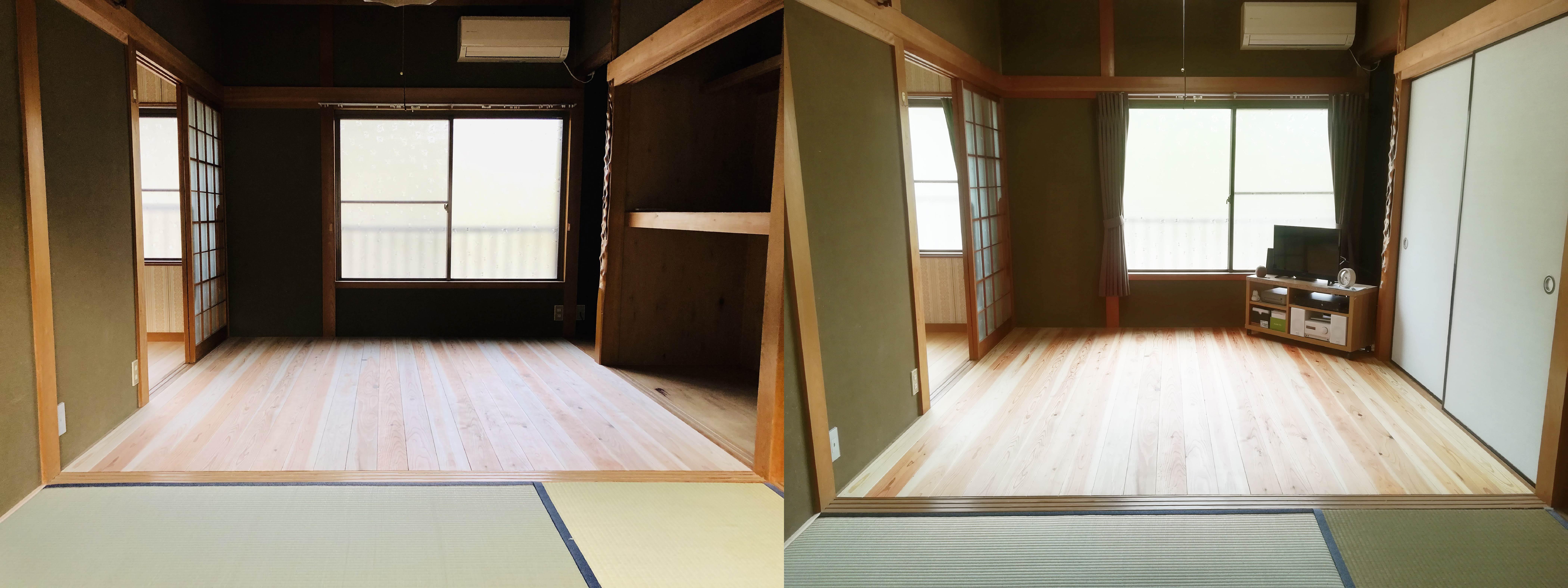 スギのフローリング / 左:ワックスを塗る前 右:ワックスを塗った後